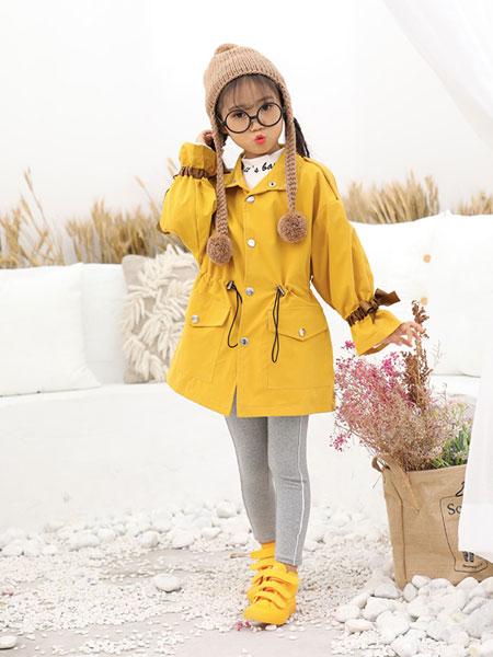 班吉鹿banjilu童装品牌2019秋冬黄色大衣 百搭可爱