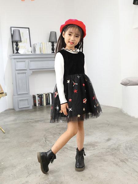 班吉鹿banjilu童装品牌2019秋冬黑色公主裙