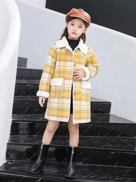 晗与熙童装品牌2019秋冬格子拼色大衣