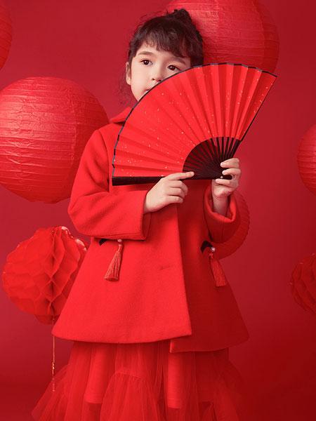 DIZAI童装品牌2019秋冬大红色中长款大衣