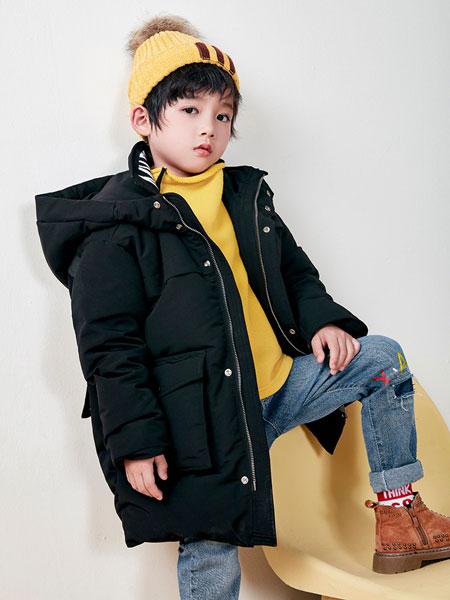 DIZAI童装品牌2019秋冬男款黑色羽绒大衣