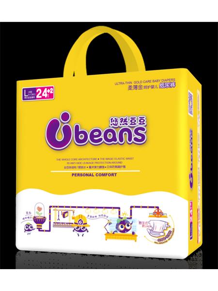 悠然豆豆婴童用品全芯体柔薄金呵护婴儿纸尿片L码