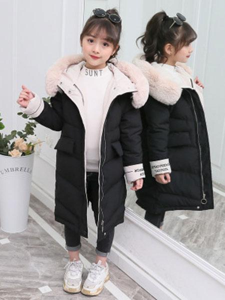 胤凡童装品牌2019秋冬女童冬装棉衣中大童彩色毛领棉服儿童外套