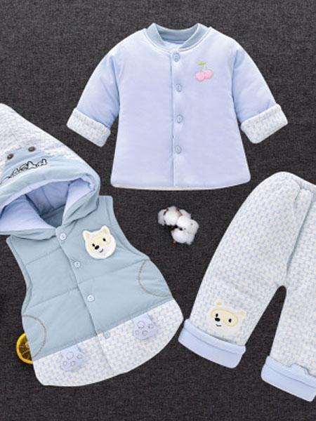 逗尼顽童装品牌2019秋冬新生婴儿秋冬季男女宝宝加厚棉衣外出服袄6个月三件套装保暖0-1岁