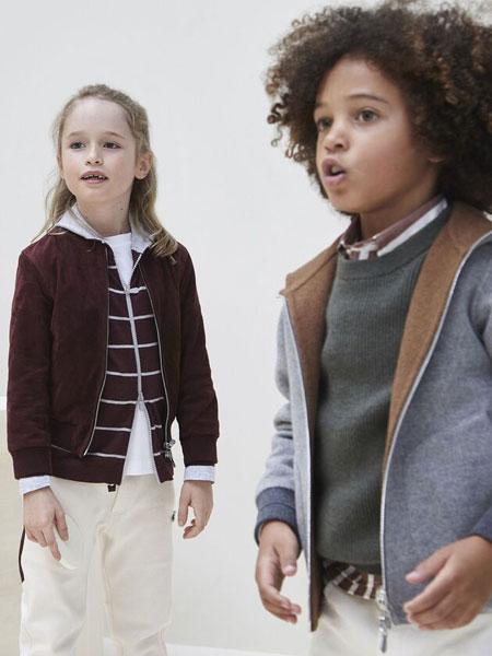 Brunello Cucinelli童装品牌2019秋冬英式罗纹对襟衫