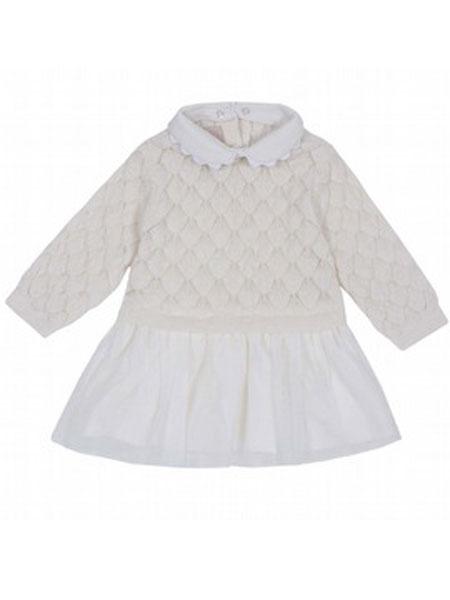 Chicco童装品牌2019秋冬针织蕾丝洋装
