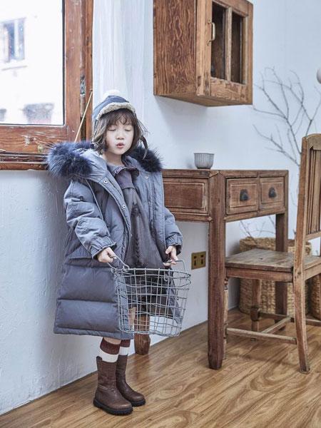 妹妹恩倪童装品牌2019秋冬新款蓝色带帽大毛领羽绒服