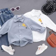 LINE·MALIN童装品牌2020春夏2020春装新款男童纯棉衬衫 韩版宝宝男儿童卡通刺绣衬衣