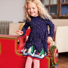 奥斯达童装品牌2019秋季欧美风格女童连衣裙纯棉长袖圣诞公主裙