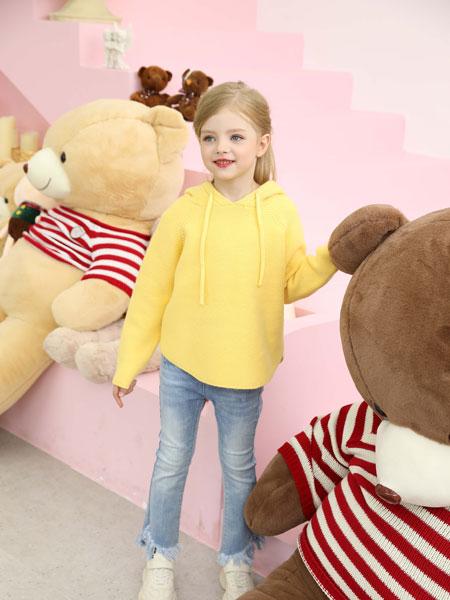 芭乐兔童装品牌2019秋冬新款黄色连帽长袖卫衣