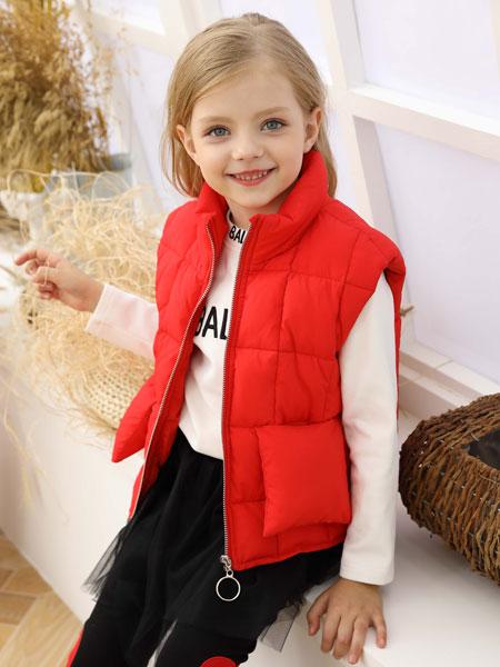芭乐兔童装品牌2019秋冬新款红色羽绒马甲