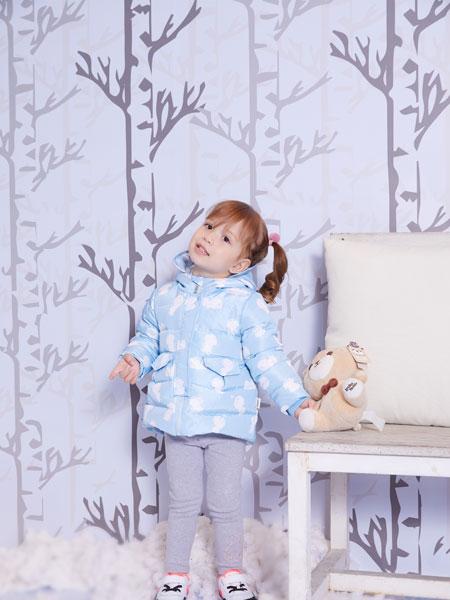 洛克泰迪童装品牌2019秋冬新款纯色带帽印花羽绒服