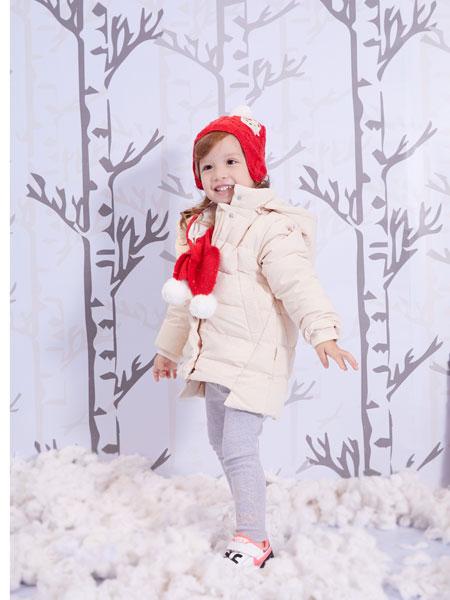 洛克泰迪童装品牌2019秋冬新款纯色带帽羽绒服