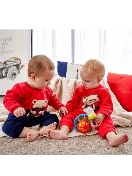 洛克泰迪童装品牌2019秋冬新款红色卡通保暖衣