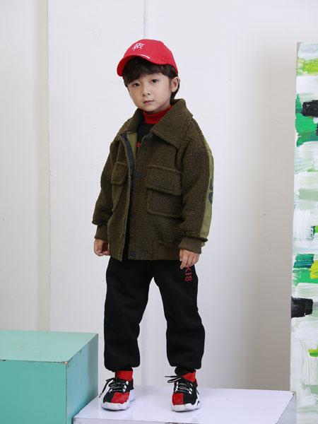 可趣可奇童�b品牌2019秋冬新款多口袋毛呢外套