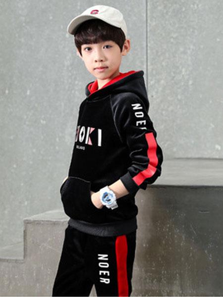 少年邦童装品牌2020春夏时髦卫衣中大童字母潮流男童卫衣连帽