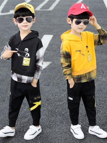 少年邦童装品牌2020春夏中大童韩版休闲烫钻开衫儿童长袖两件套潮