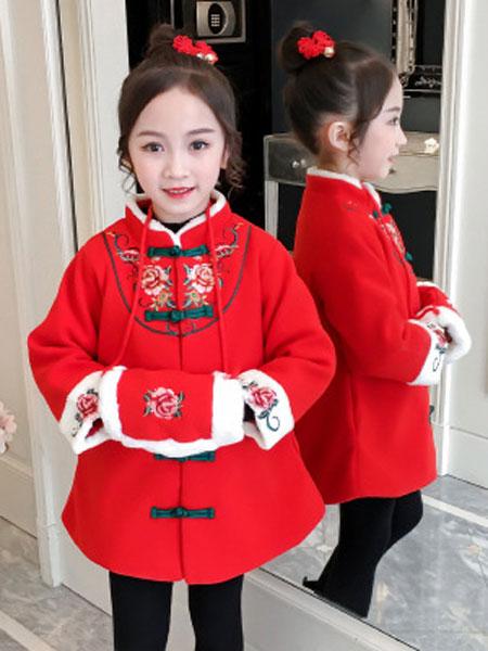 少年邦童装品牌新年冬装棉服喜庆拜年服节日表演服唐装女童加厚棉衣