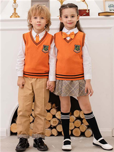 米乐橙MIROCH童装品牌2019秋季橘色针织背心套装
