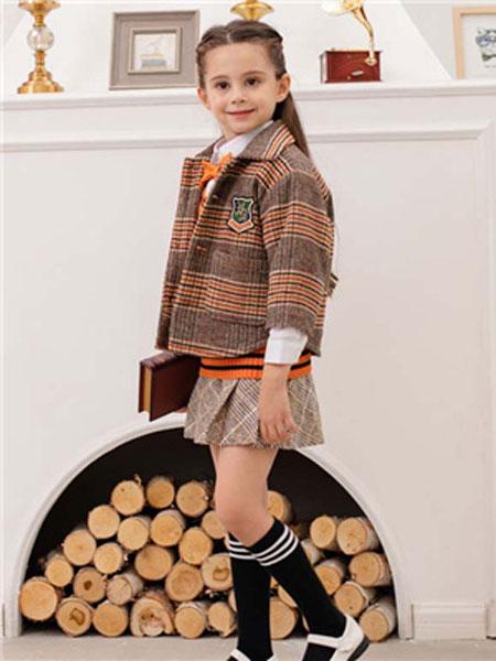 米乐橙MIROCH童装品牌2019秋季格纹西装大衣
