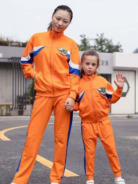 米乐橙MIROCH童装品牌2019秋季橘色运动亲子套装