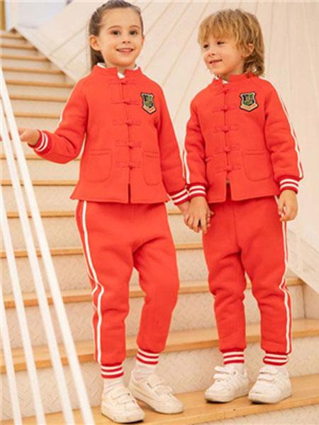米乐橙MIROCH童装品牌2019秋季红色中山装套装