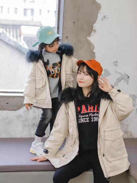大头儿子和小头爸爸童装品牌2019秋冬新款大毛领羽绒外套亲子装
