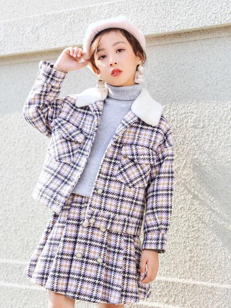 欧卡星童装品牌2019秋冬新款毛呢翻领格子套装
