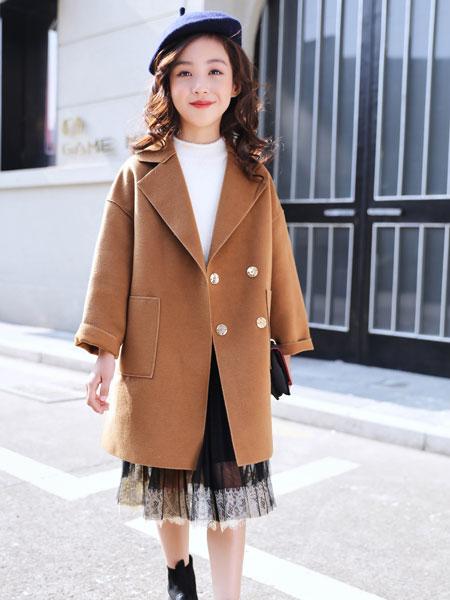 欧卡星童装品牌2019秋冬新款纯色毛呢纽扣大衣