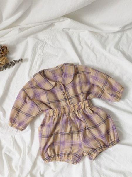 红贝儿童装品牌2020春夏纯棉套装男女宝宝时尚格子衬衫包屁灯笼短裤两件套