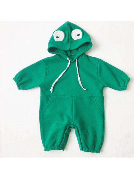红贝儿童装品牌2020春夏幼儿童连体衣宝宝可爱卡通青蛙包屁哈衣爬爬服