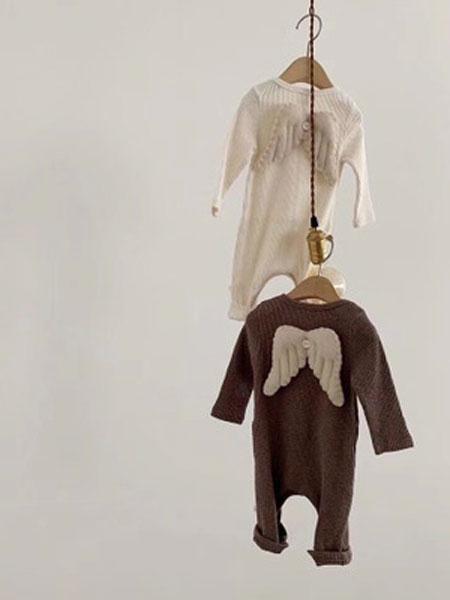 红贝儿童装品牌2020春夏幼儿可爱天使翅膀爬服宝宝全棉长袖连体衣哈衣