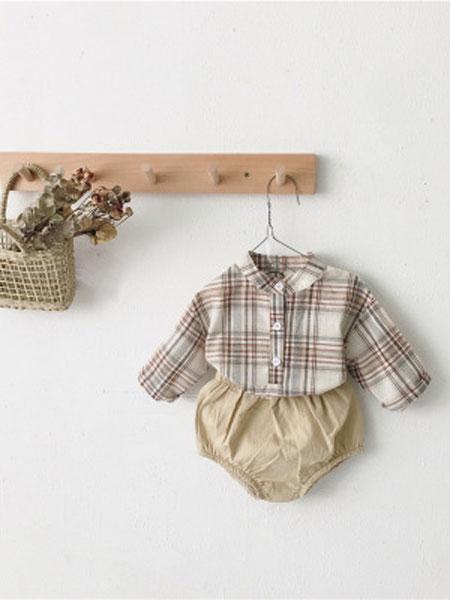 红贝儿童装品牌2020春夏时尚洋气格子长袖小立领衬衫灯笼短裤
