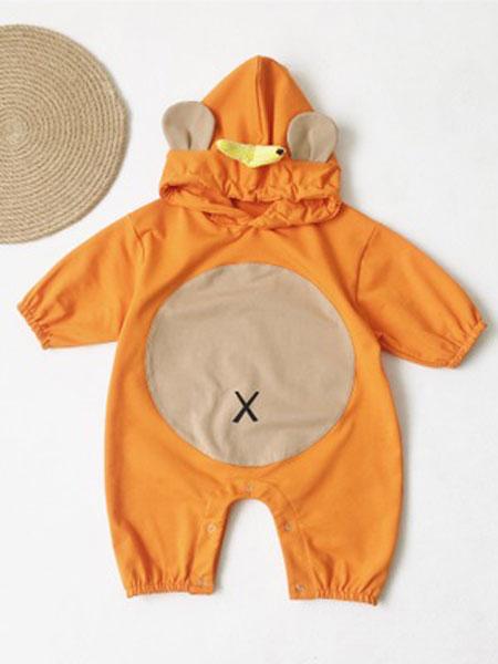 红贝儿童装品牌2020春夏可爱卡通连帽卫衣连体哈衣爬爬服