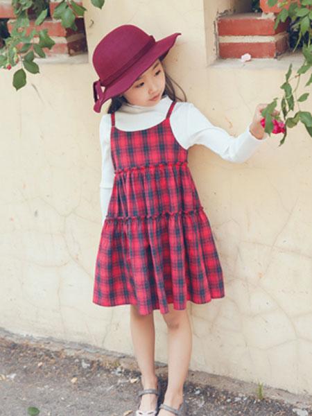 mini petrel童装品牌2020春夏新款格子吊带连衣裙