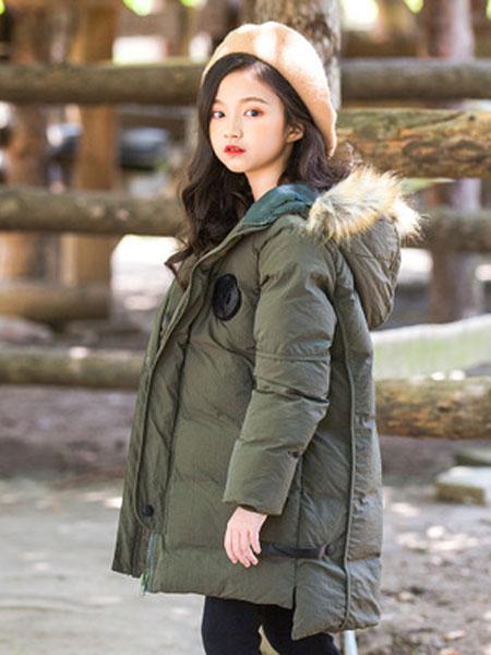 抱抱哦童装品牌2019秋冬中大童加厚保暖棉服外套
