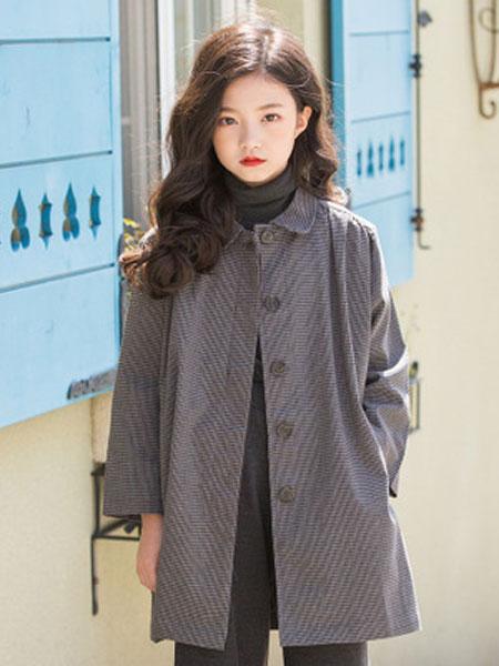 抱抱哦童装品牌2019秋冬时尚韩版休闲童装风衣中长款