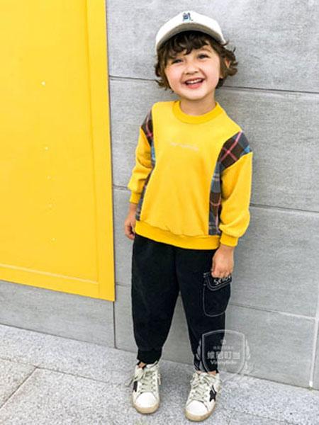 维尼叮当童装品牌2020春夏新款纯色印花长袖上衣