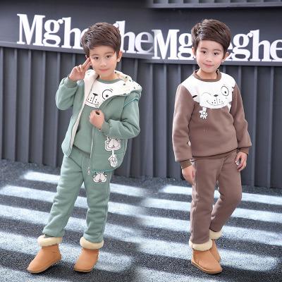 泰亚格童装品牌2019秋冬儿童加绒加厚卫衣三件套