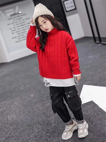 PLOVER童装品牌2019秋冬半高领毛衣