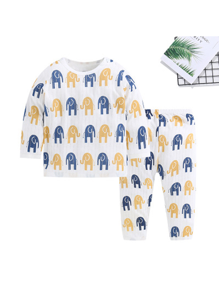 天之翊童装品牌2019秋冬套装婴幼儿内衣纯棉提花中小童男女宝宝长袖睡衣