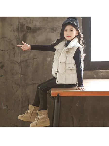 天鹄童装品牌2019秋冬女童棉马甲新款童装加厚保暖儿童坎肩背心中大童外套