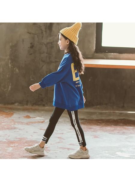 天鹄童装品牌2019秋冬秋装女童时髦纯色字母卫衣两件套中大童女孩韩版洋气套装
