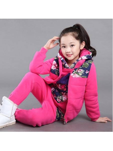 俊妮童装品牌2019秋冬童装女童三件套新款儿童拉链卫衣套装加绒加厚中大童保暖