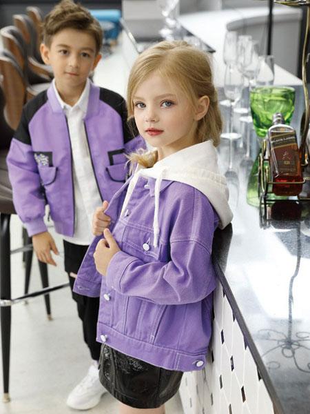芭乐兔童装品牌2019秋冬新款纯色条纹拼接色带帽拉链夹克
