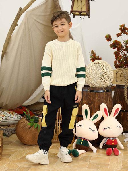 芭乐兔童装品牌2019秋冬新款毛呢长袖针织毛衣