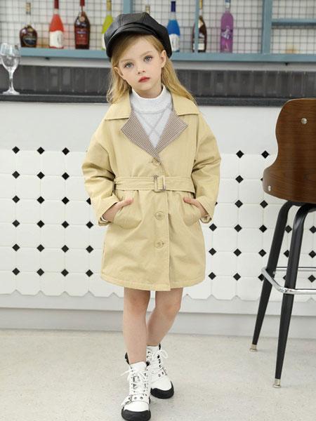 芭乐兔童装品牌2019秋冬新款纯色翻领纽扣夹克