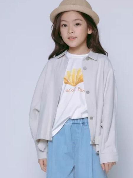 彩色笔童装品牌2020春夏新款纯色针织纽扣衬衫