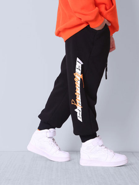 brongo童装品牌2020春夏童裤子中腰系带字母印花中大童男运动裤