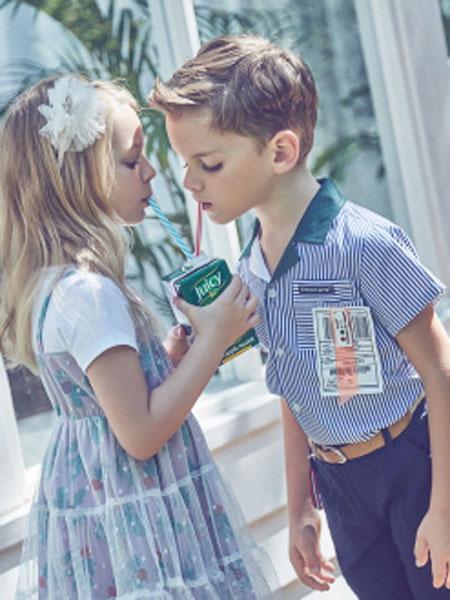 Curlysue童装品牌2020春夏新款简洁立领图案上衣